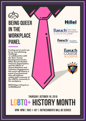 lgbt queer in the workplace panel flyer