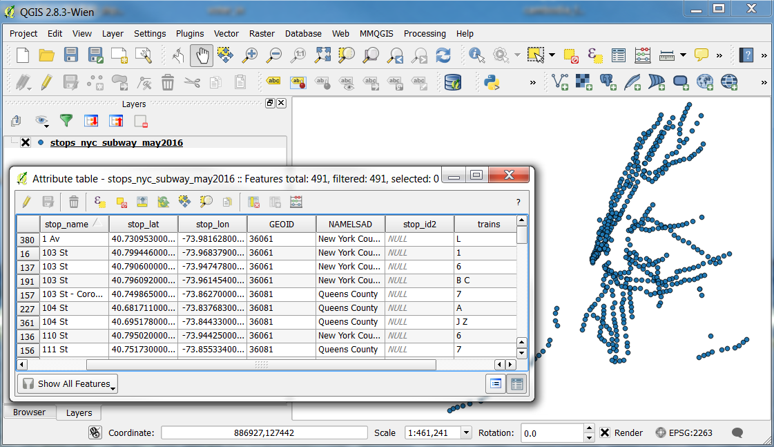 A shapefile and its attributes in QGIS