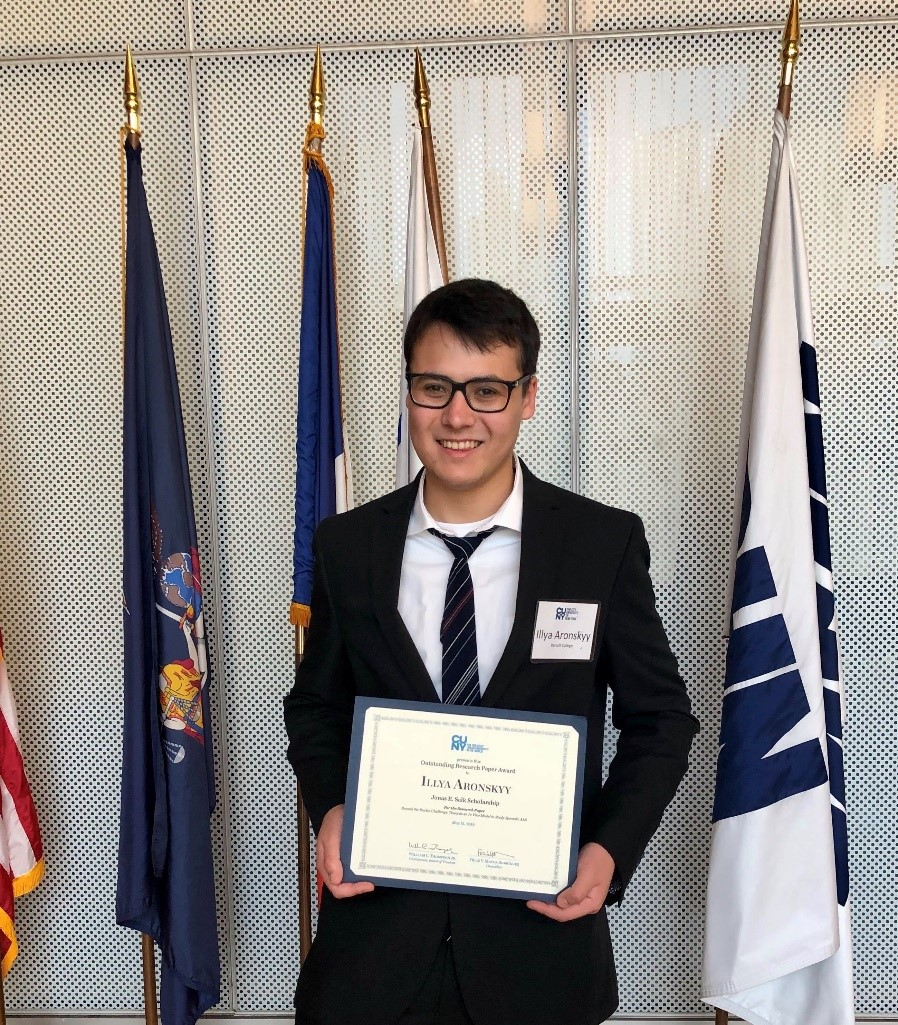 Illya Aronskyy, who was selected for a Salk Scholarship in recognition of outstanding academic performance and scientific research, will attend medical school in the fall.