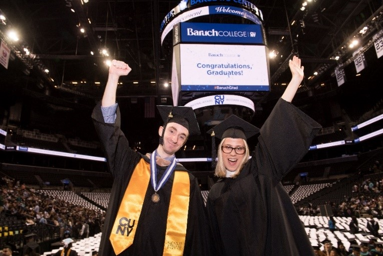 Baruch College 2018 Valedictorian and Salutatorian at Commencement on May 30, 2018 at Barclays Center