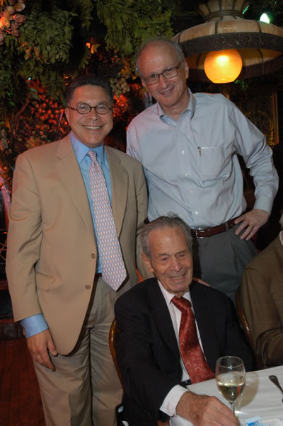 Photo - Accounting professor Abraham Briloff with former students Arthur Ainsberg and Charlie Dreifus