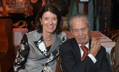 Baruch College President Kathleen Waldron with legendary accounting professor Abraham Briloff