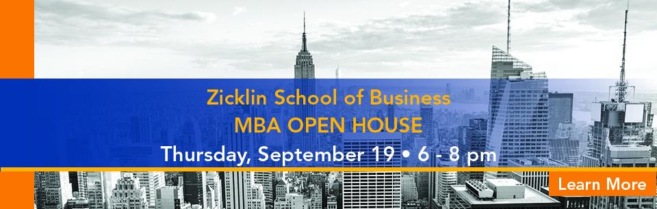 Zicklin Open House September 19 6-8 pm