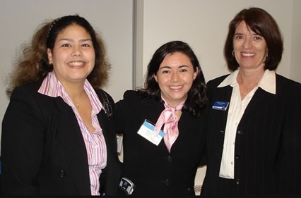 Photo - President Kathleen Waldron with Baruch alumni at MorganStanley