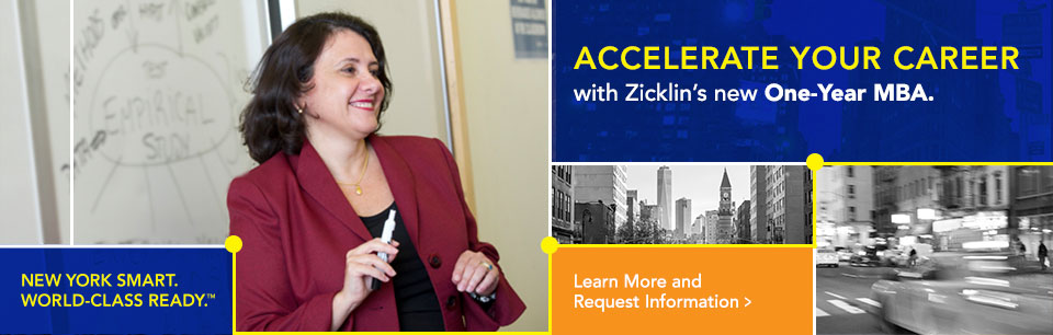 Zicklin's innovative Evening MBA Program paves the way for a successful future.