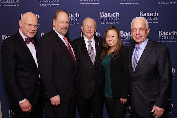Honoree Francis Greenburger ?74, Baruch College President Mitchel Wallestein, Honoree William M. Newman ?47, Hon., LLD ?97, Alumni Speaker Catherine Kuo ?11, and Honoree Joseph Macnow ?67.