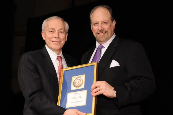 Terrence F. Martell, Distinguished Faculty award winner with President Wallerstein