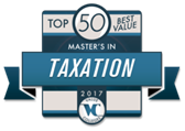 Top 50 Best Value Master's in Taxation 2017 Badge