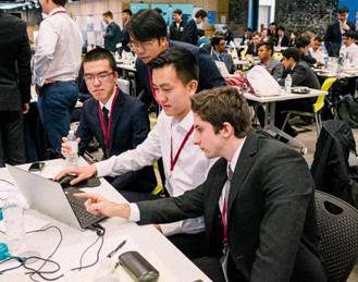L to R: Baruch winning team members Yifan Hu, Jaime Abbariao, Bell Chen, and Dmitriy Treyger