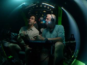 Dr. David Gruber (left) in a Deep Rover submarine off the coast of Brazil.