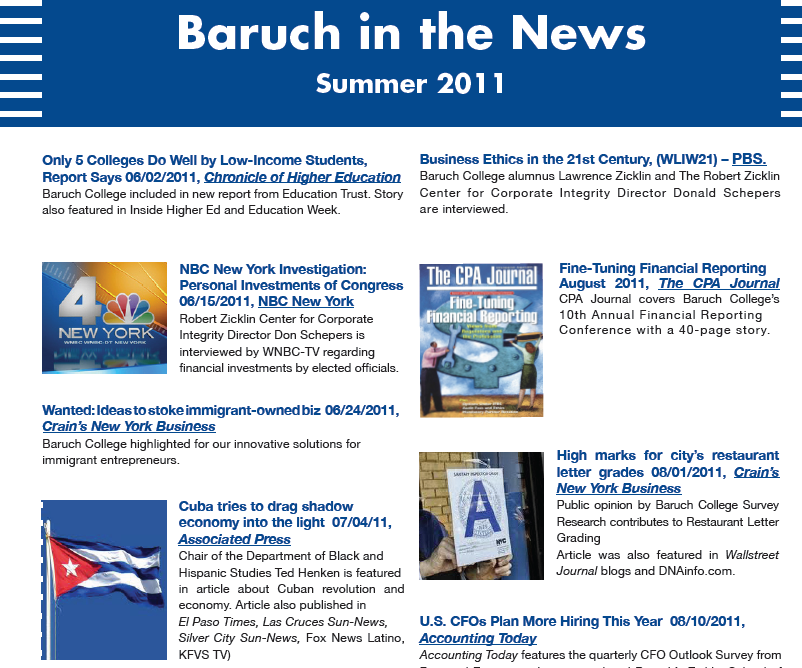 Baruch in the News Summer 11