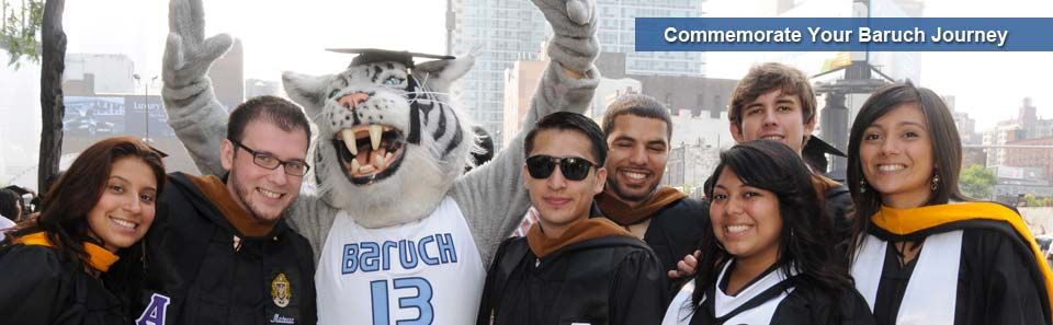 Graduates pose with Baruch's Bearcat mascot on commencement day