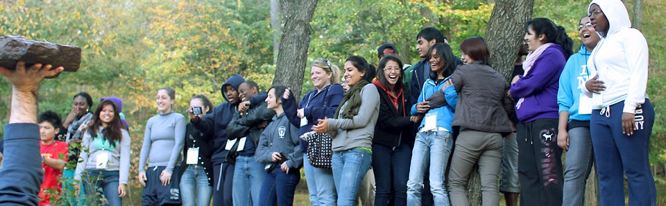 Students attending Baruch's Leadership Training Retreat during an exercise