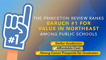 Baruch ranks #1 in Northeast for value among public schools, says The Princeton Review.