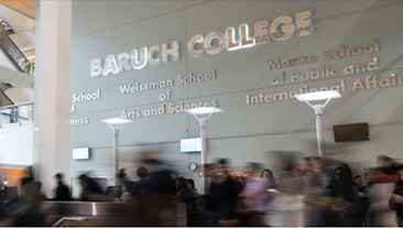 Baruch College students in the Newman Vertical Campus building